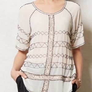Anthro Carnation Lily Lily Rose Poeme Beaded Tunic
